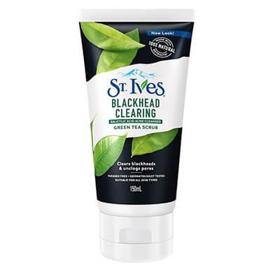 Tẩy Tế Bào Chết St.Ives Blackhead Clearing Green Tea Scrub (trà xanh) cho da dầu mụn