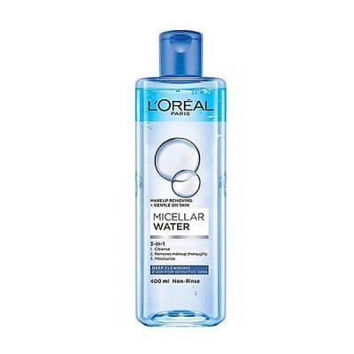 L'oreal Paris Micellar Water 3 in 1 Deep Cleansing màu xanh đậm cho da nhạy cảm