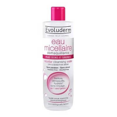 Nước tẩy trang Evoluderm hồng Micellar Cleansing Water Dry & Sensitive Skins (da thường, da khô)