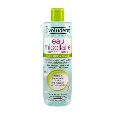 Nước tẩy trang Evoluderm xanh Micellar Cleansing Water Combination To Oily Skins (da dầu)
