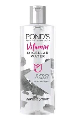 Nước tẩy trang Pond's Vitamin Micellar Water D-TOXX Charcoal (màu đen)