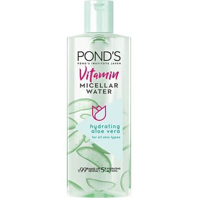 Nước tẩy trang Pond's Vitamin Micellar Water Hydrating Aloe Vera (màu xanh)