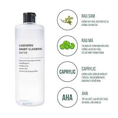 Thành phần chính nước tẩy trang Caryophy Smart Cleansing Water