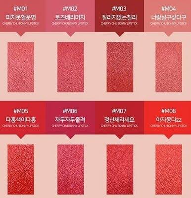 Bảng Màu son Coringco Cherry Chu Bonny Lipstick Matte
